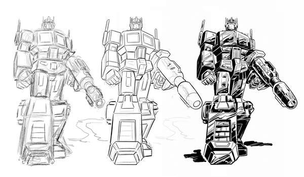 Optimus Prime - progress sketch by Simon-Williams-Art