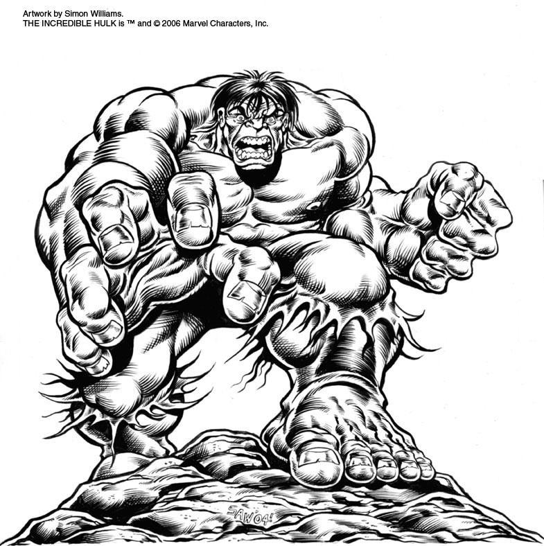 Hulk black and white by simon williams art