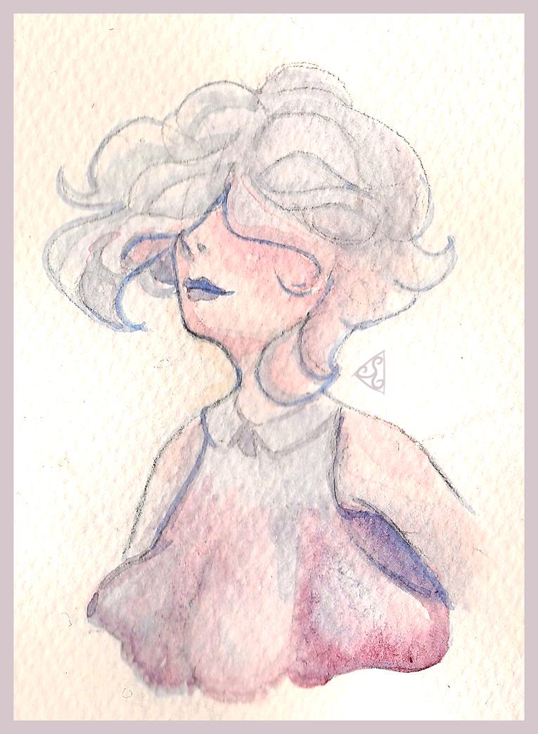 Space Girl - Watercolour Sketch by dizzyrin