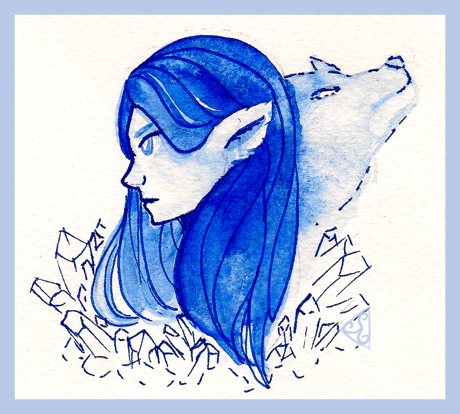 Icefang - Watercolour Sketch by dizzyrin