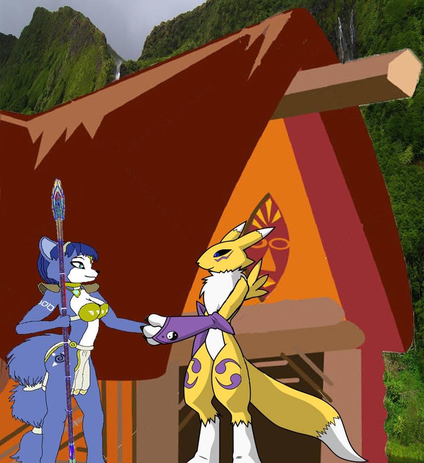 Krystal Fox shakes hand with Renamon