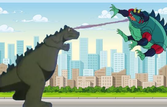 Godzilla laser beam Robosaurus