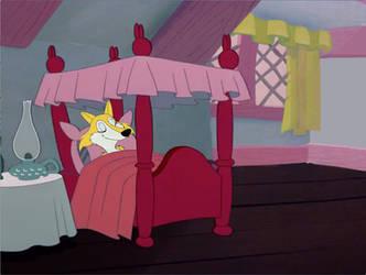 Rosie in the white rabbit Bed