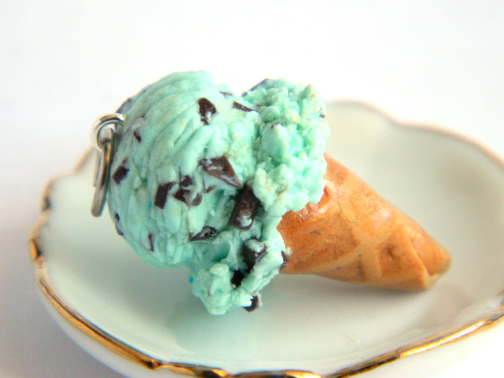 Mint Chocolate Ice Cream Cone Charm by Xiiilucky13