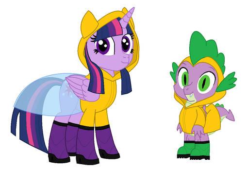 Twilight Sparkle And Spike in Raingear