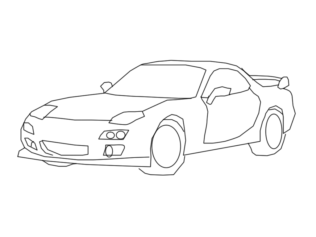 MAZDA RX-7 lineart by googlememan on DeviantArt