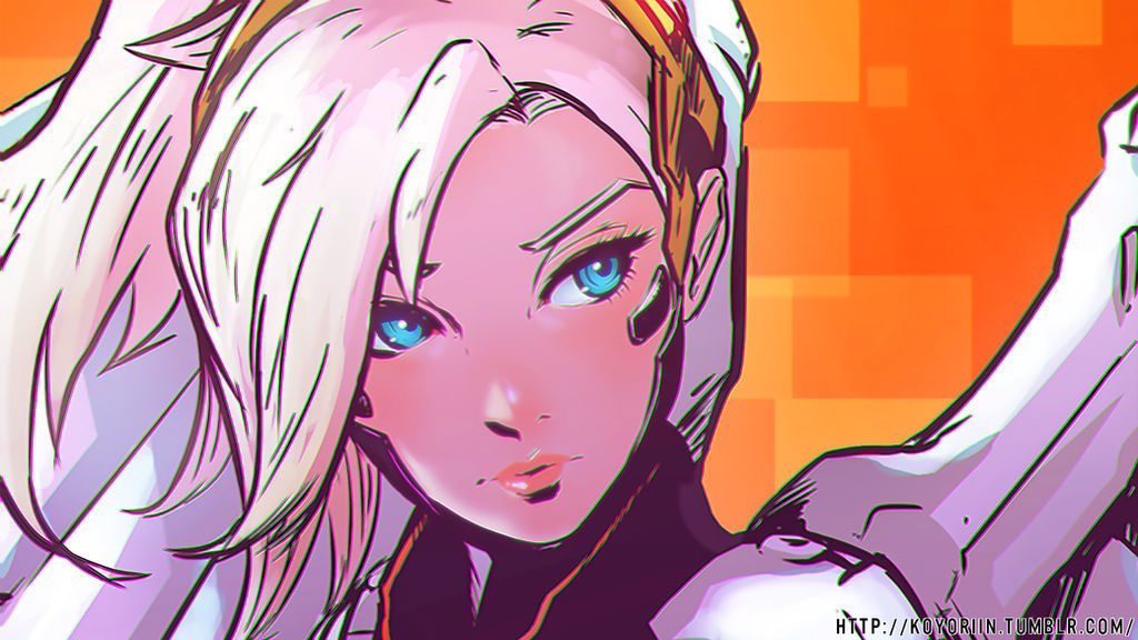 Overwatch Mercy Sketch [WALLPAPER EDIT] by SkullSack