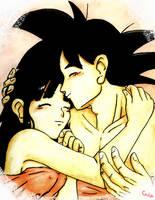 Goku and Chichi by camlost