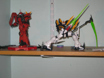 MG Deathscythe and MG Zaku II by Kefka-VI