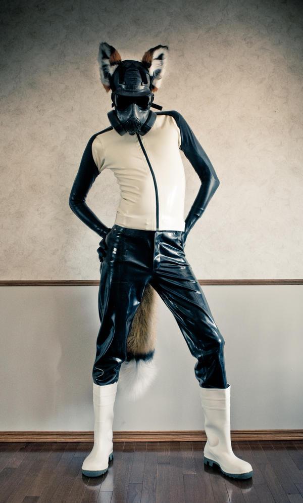 Gas Masked Fox by icefoxx