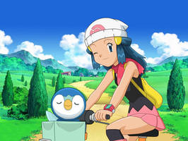 Dawn y piplup en bicicleta 2.0 (con fondo)