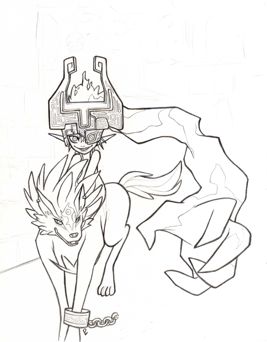 Wolf link and midna sketch coloring page for Midna coloring pages