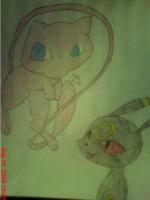 Mew And Umbreon Mew and Umbreon by Evi...
