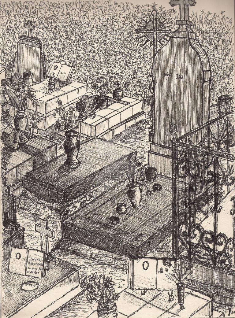 Graveyard drawing II by ArtistSoul13