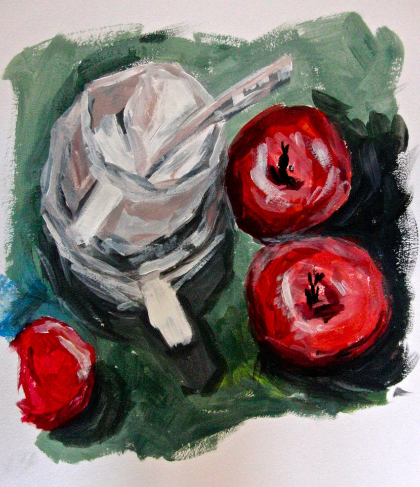 Stacked cups and apples by KateHodges