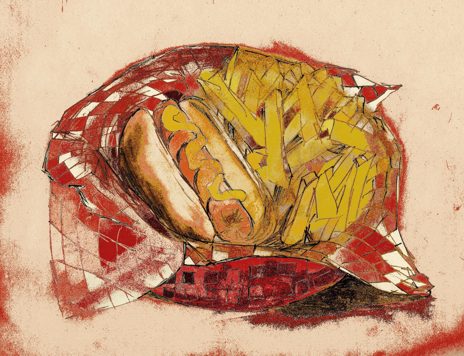 Hot dog and french fries by KateHodges