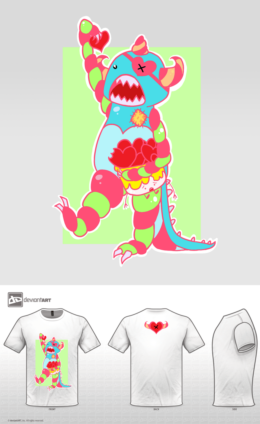 Cute Monster Design - Heart Monster by capochi