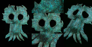 Ancient Turquoise Cthulhu Cult Mosaic Mask by mortonskull