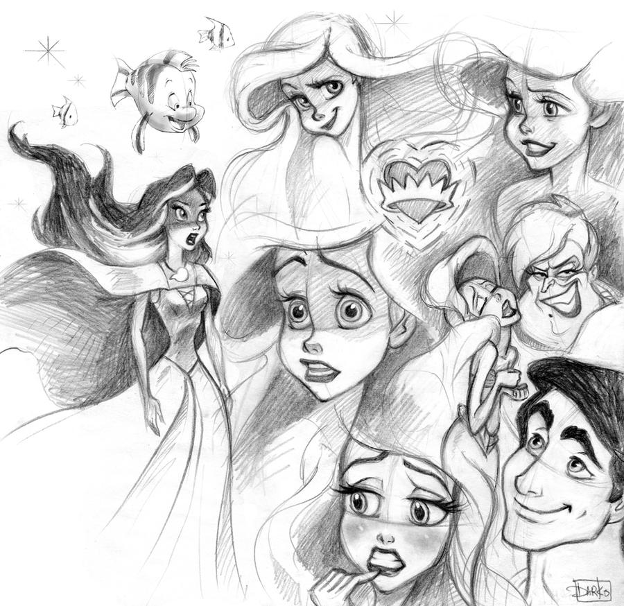 The Little Mermaid sketches