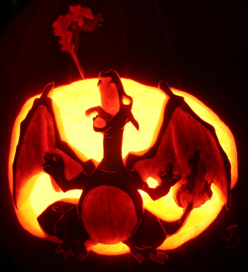 Charizard pumpkin of fire by johwee on deviantart for Pokemon jack o lantern template