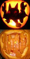 A Gligar carved in a Pumpkin