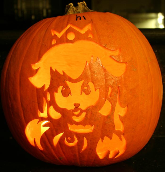 Peach Pumpkin Lit Up by johwee on DeviantArt