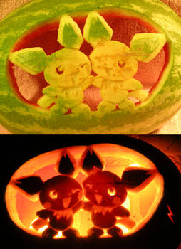 Pichu Brothers on a Watermelon
