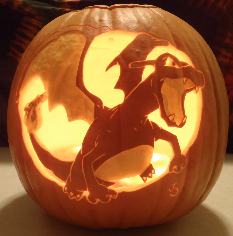 Charizard redux light version by johwee on deviantart for Pokemon jack o lantern template