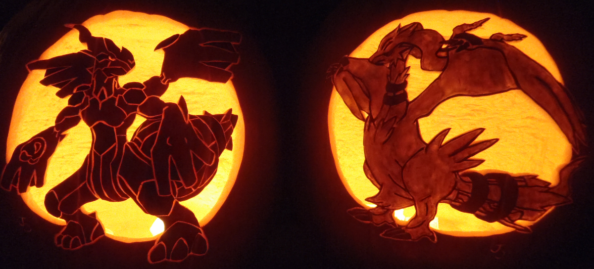 Truth and Ideals - Zekrom and Reshiram Pumpkins by johwee