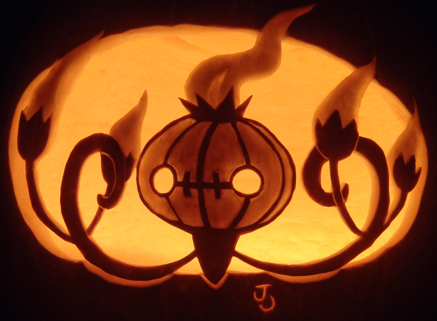 Shining chandelure pumpkin by johwee on deviantart for Pokemon jack o lantern template