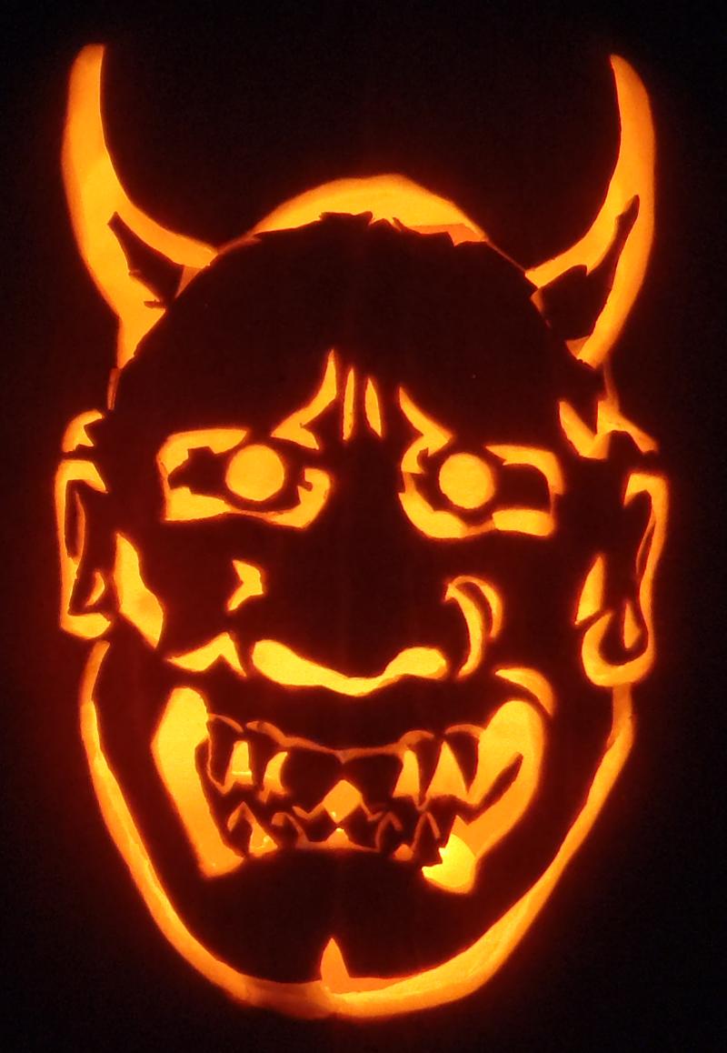 Noh Mask Pumpkin by johwee