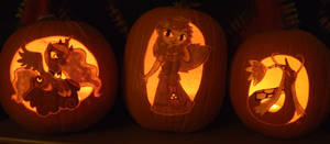 Three Princess Pumpkins in the Light