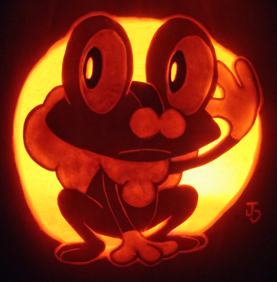 Water type froakie pumpkin by johwee on deviantart for Pokemon jack o lantern template