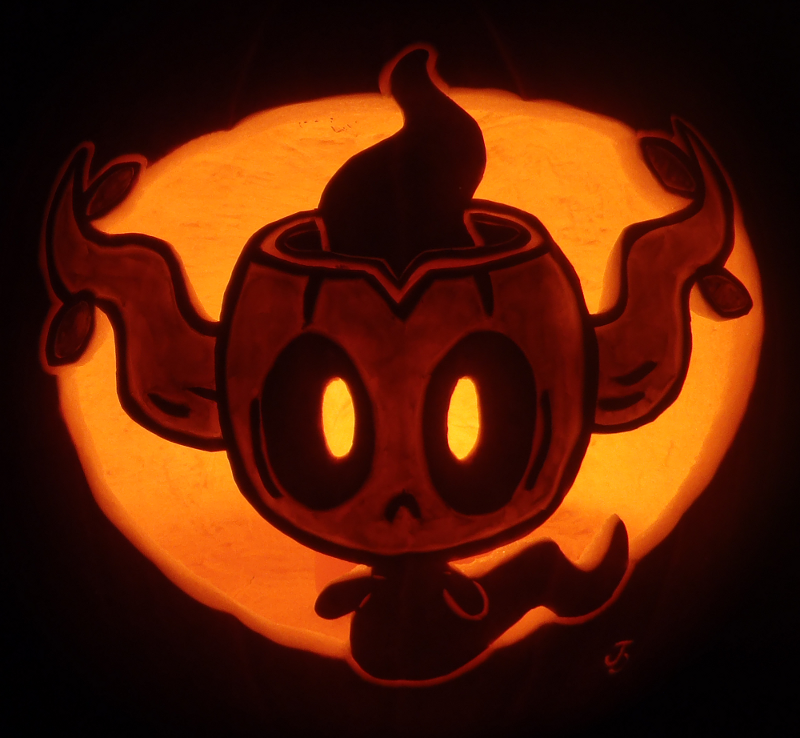 pokemon jack o lantern template - phantump on a pumpkin by johwee on deviantart