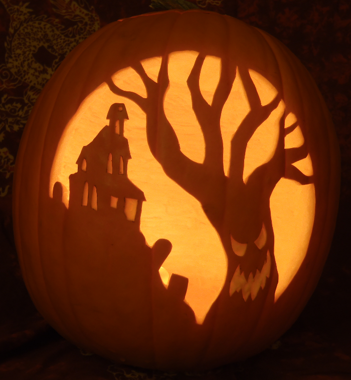 Scary tree pumpkin stencil