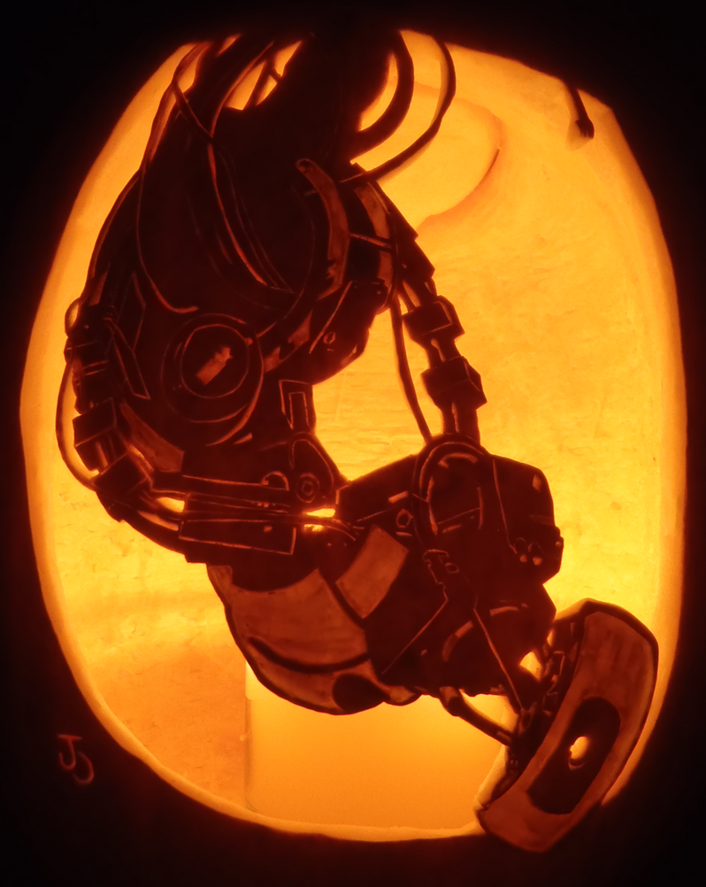 GLaDOS Pumpkin by johwee