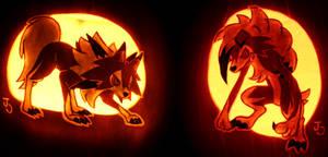 A Pair of Lycanroc Pumpkins