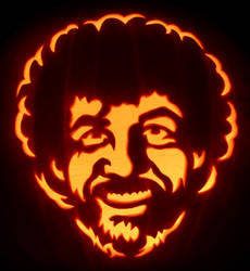 Happy Little Bob Ross Pumpkin