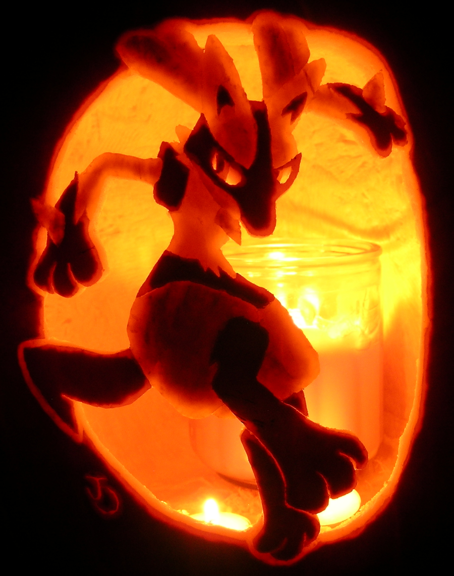 Lucario pumpkin by johwee on deviantart Awesome pumpkin drawings