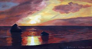 Kintyre Sunset in oils