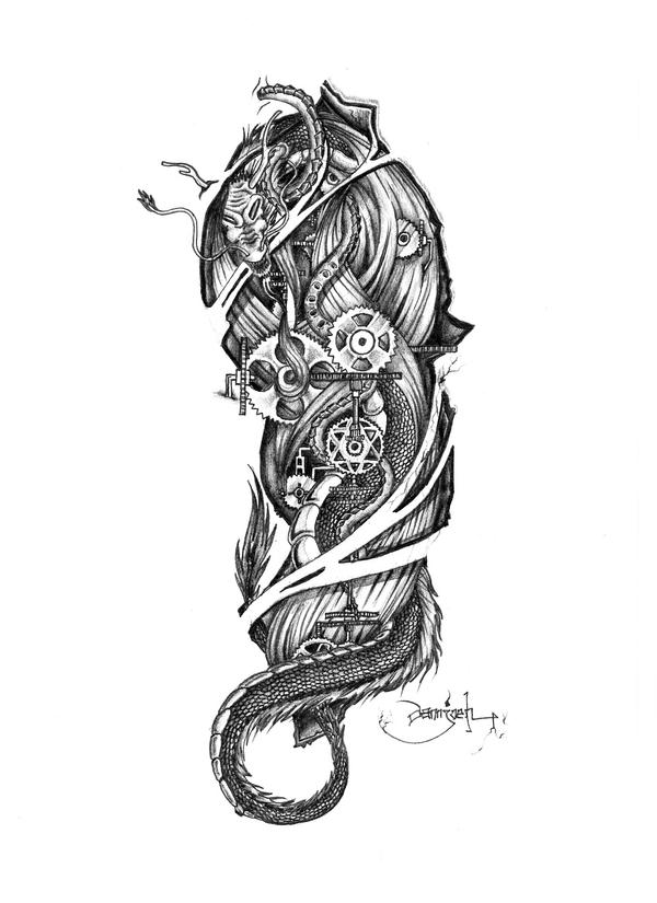 Clock Gear Tattoo Designs Biomech gear by dannjoehGear Tattoo Drawing