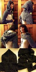 Crocheted Hooded Dragon Scale Shrug