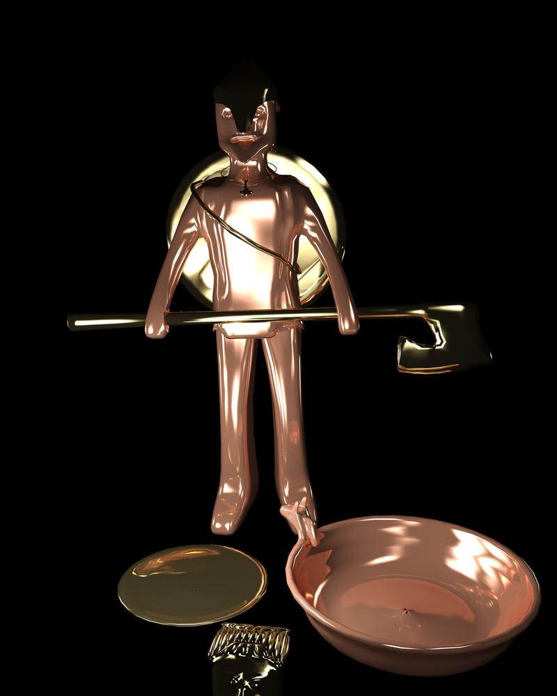 Copper and brass Viking  by Norththeicewing