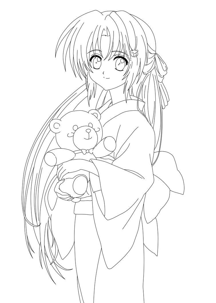 Coloring Anime Kimono Coloring