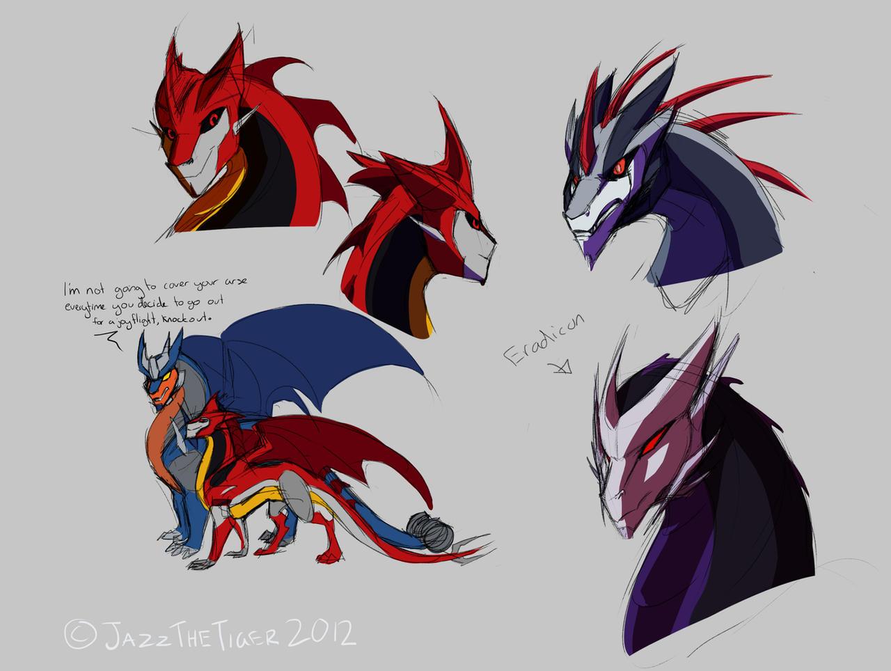 TFP Dragonformers Decepticon Sketches by JazzTheTiger