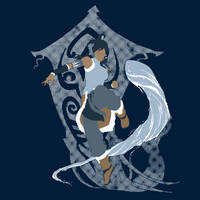 Korra, Waterbending and avatar spirit by Baroni-BABe