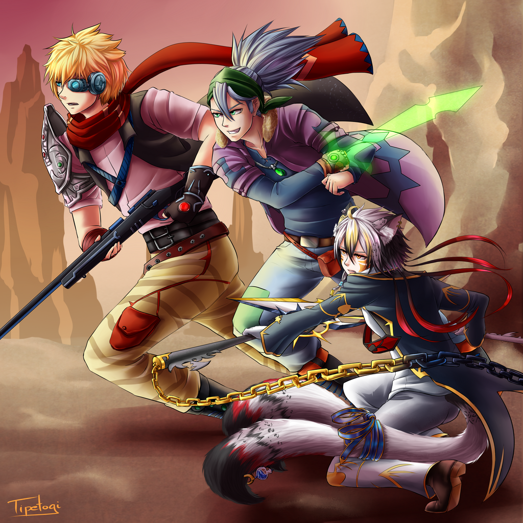 [Comission] Isaac, Barret and Myde by Cotton-Monster