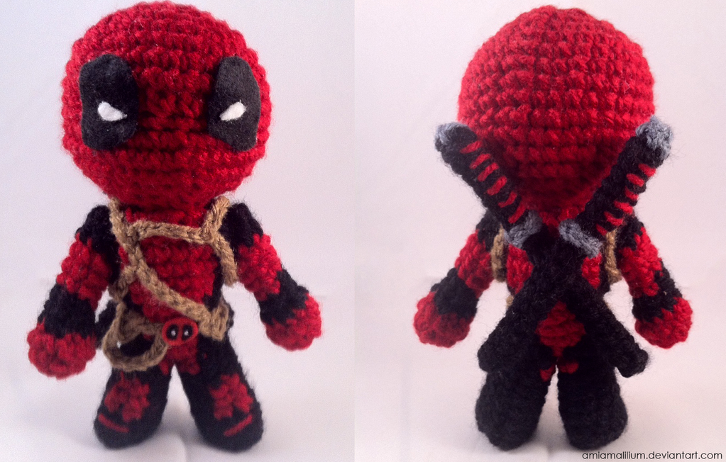 Amigurumi Chibi Doll Pattern Free : Deadpool chibi inspired amigurumi by amiamalilium on