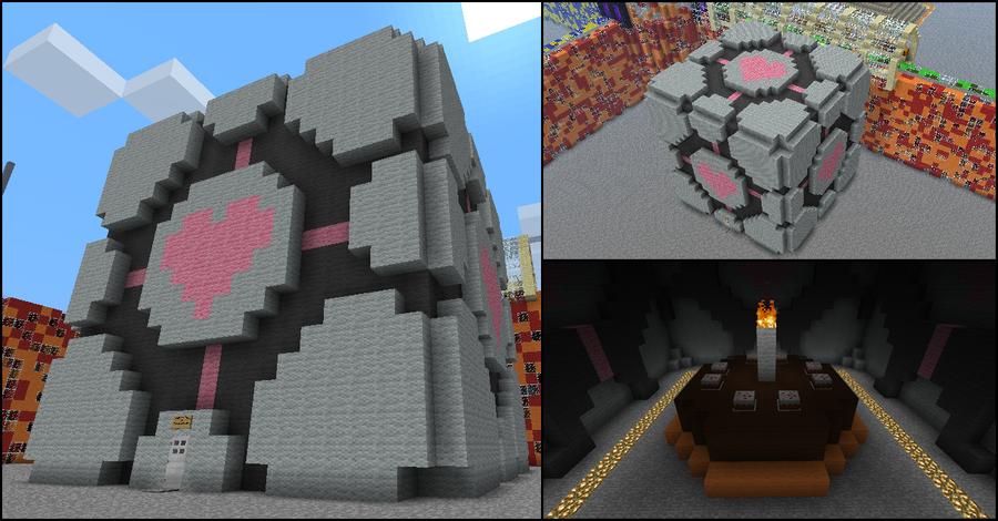 companion cube in minecraft by terror inferno on deviantart