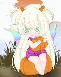 Nina picking pumpkins.